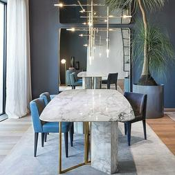 """Homary Modern 79"""" White Faux Marble Dining Table 6-8 Persons"""