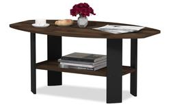 Modern Black Coffee Table Wood End Side Shelves Shelf Living
