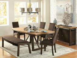 Modern Brown Dining Room Set NEW 6 pieces Rectangular Table
