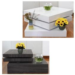 Modern Design Square Rotating Coffee Table 3 Layers Living R