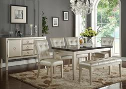 Modern Dining Room Set 6 piece Rectangular Marble Table & Be