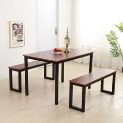 Iron Frame Modern Dining Table and Chairs 2pcs Benches Set K