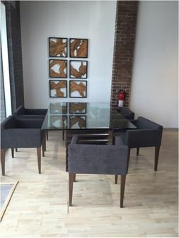 MODERN DINING TABLE AND 8 ITALY FABRIC CHAIRS,