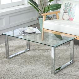 Modern Glass & Stainless Steel Coffee Table Side End Table L