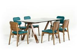 Modern Glass & Walnut Dining Table Set 7 Pcs Contemporary VI