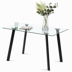 Modern Glass Dining Table for 4/6 Rectangular Kitchen Table