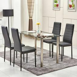 Modern Glass Dining Table Kitchen Dinette Metal Leg Home Dec