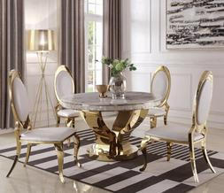 Modern Gold 5-Piece Dining Set Faux Marble Top with Cream Fa