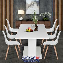 Modern Kitchen Extendable Dining Table 4-8P Seaters Glossy W
