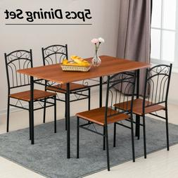 5 Piece Metal Dining Table Set 4 Chairs Wood Top Table Kitch
