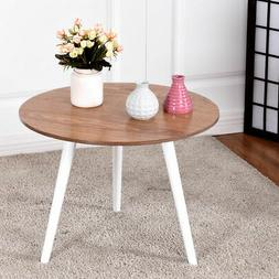 Modern Round Coffee Table Side Tea End Table Pine Furniture