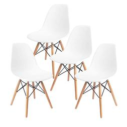 Modern Set of 4 Mid Century D-S*W Dining Side Chairs Wood Le