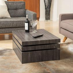Modern Style Rotating Coffee Table 3 Layers Wood Living Dini