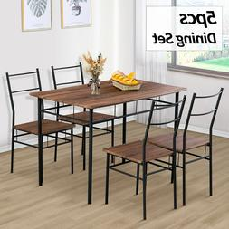 5 Piece Metal Dining Table Set W/ 4 Chairs Wood Top Dining R