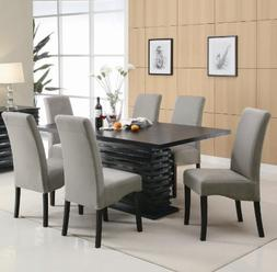 Janes Gallerie 7-piece Modern Wave Black Dining Set