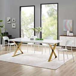 Modern White Gold High Gloss Rectangle Dining Table With Sta
