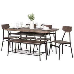 Best Choice Products 6-Piece 55in Modern Wood Dining Set for