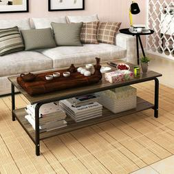 "Modern 39"" Coffee Dining Table End Side Table w/ Shelves Liv"