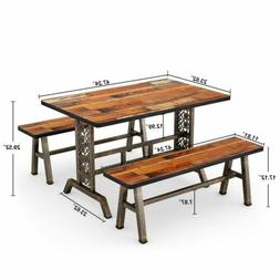 Home Dining Table with Two Benches 3 Pieces Dining Set for K