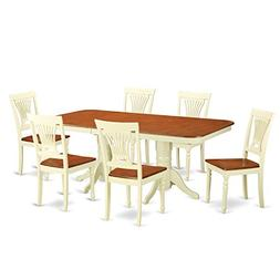 East West Furniture NAPL7-WHI-W 7-Piece Dining Table Set