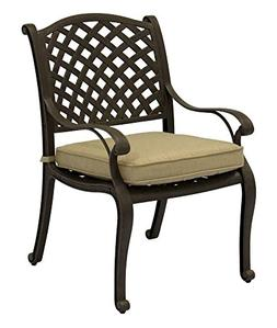 Nassau Cast Aluminum Powder Coated 6 Dining Chairs with Waln