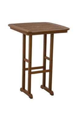 POLYWOOD NCBT31TE Nautical Bar Table, 31-Inch, Teak