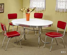 NEW 50's STYLE CHROME METAL RETRO OVAL KITCHEN DINING TABLE