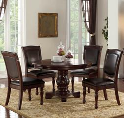 NEW 5PC FORMAL CARVED CHERRY FINISH WOOD ROUND DINING TABLE