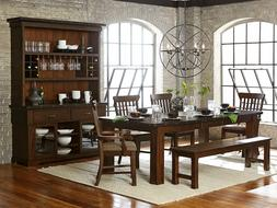NEW 6 pieces Brown Dining Room Kitchen Set Rectangular Table