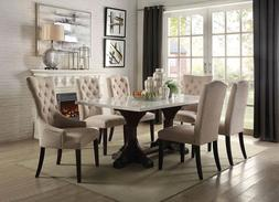 NEW 7 piece Dining Room Rectangular Marble Top Table & Fabri