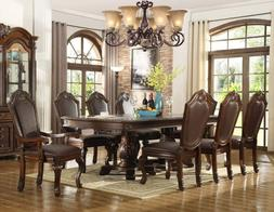 NEW 7PC CHATEAU FORMAL TRADITIONAL CHERRY FINISH WOOD LEATHE