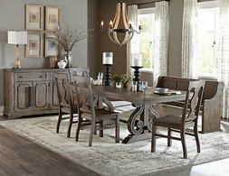 NEW Brown Oak 6 piece Dining Room Set w/ Rectangular Table B