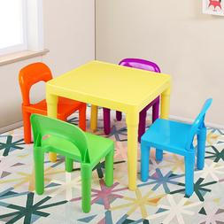 Kids Table and 4 Chairs Toddler Children Gift Party Toys Fun
