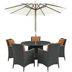 "New Sojourn 7 Piece Outdoor Patio Sunbrella Round 25.5"" Dini"