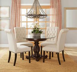 NEW Traditional Dining Room 5 piece Round Glass Top Table &