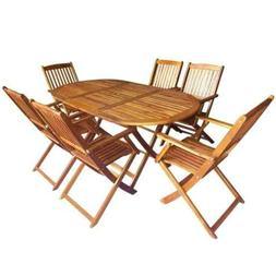 NEW US Stock Outdoor Folding Dining Set 7 Pieces Solid Eucal