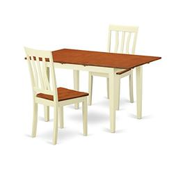 East West Furniture NOAN3-WHI-W 3 Piece Dining Table and 2 C