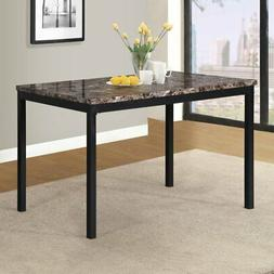 Roundhill Furniture Noyes Metal Dining Table with Faux Marbl