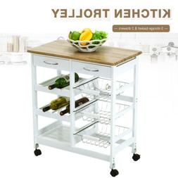 Kitchen Island Cart Trolley Portable Rolling Storage Dining