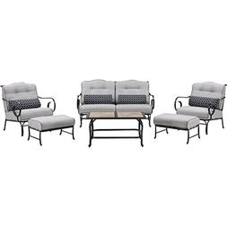 Oceana 6-Piece Patio Set in Silver Lining with a Tile-top Co