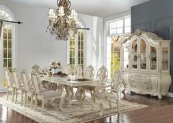 Old World Antique White 11 pieces Dining Room Set Rectangula