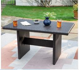 Outdoor Table Wicker Patio Rectangle Dining Poolside Yard Ch
