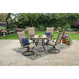 Outdoor Dining Set Patio 2 Swivel Chairs Table Garden Furnit