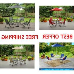 Outdoor Dining Set Patio Backyard with Table 4 Chairs and Um