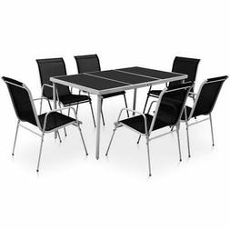 vidaXL Outdoor Dining Set Table and Chairs 7 Piece Textilene