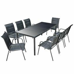 vidaXL Outdoor Dining Set Table and Chairs 9 Piece Textilene
