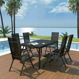 vidaXL Outdoor Dining Set Table and Folding Chairs 7 Piece W