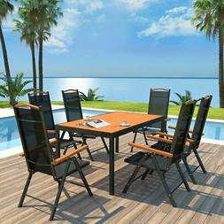 vidaXL Outdoor Dining Set Table Chairs 7 Piece WPC Folding G