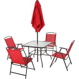 Outdoor Dining Set with Table 4 Sling Chairs Umbrella Backya