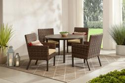 OUTDOOR PATIO DINING SET 5-Piece Wicker Chairs Table Beige S